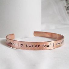 "Lovely Handmade Recycled Copper ""I solemnly swear...."" Statement Cuff Bangle"